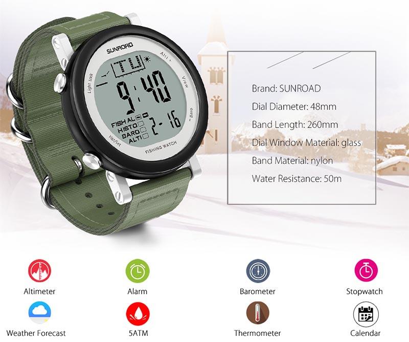 Sunroad FR721 smartwatch: часы для рыбалки с барометром