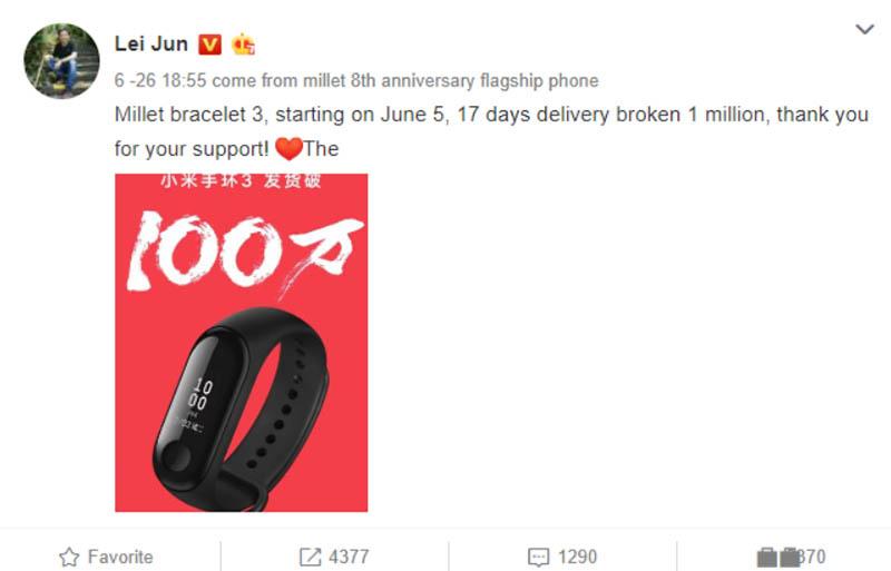 Xiaomi Mi Band 3 побил рекорд продаж