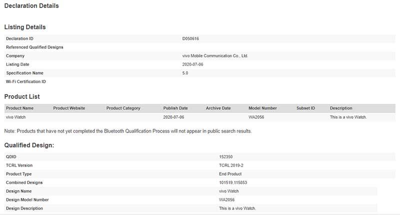 Умные часы Vivo Watch сертифицированы Bluetooth SIG