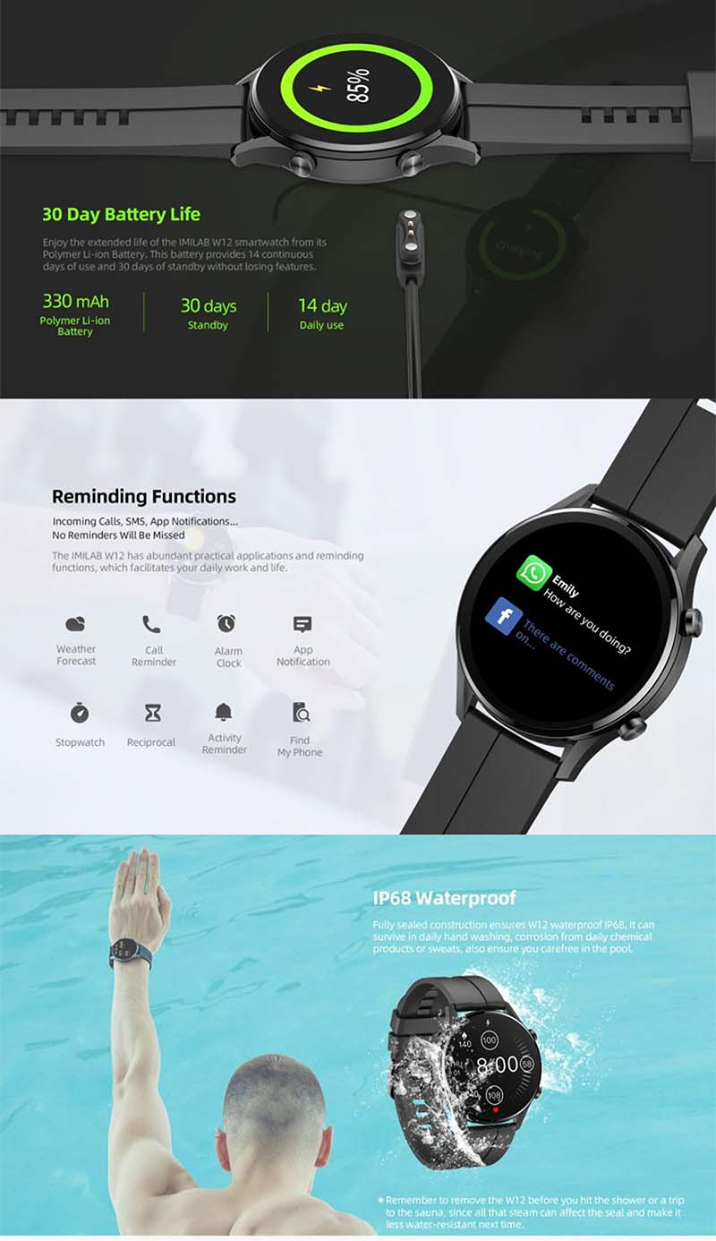 Imilab W12 Smart Watch: смарт-часы с 1,32-дюймовым экраном, IP68 и SpO2 7